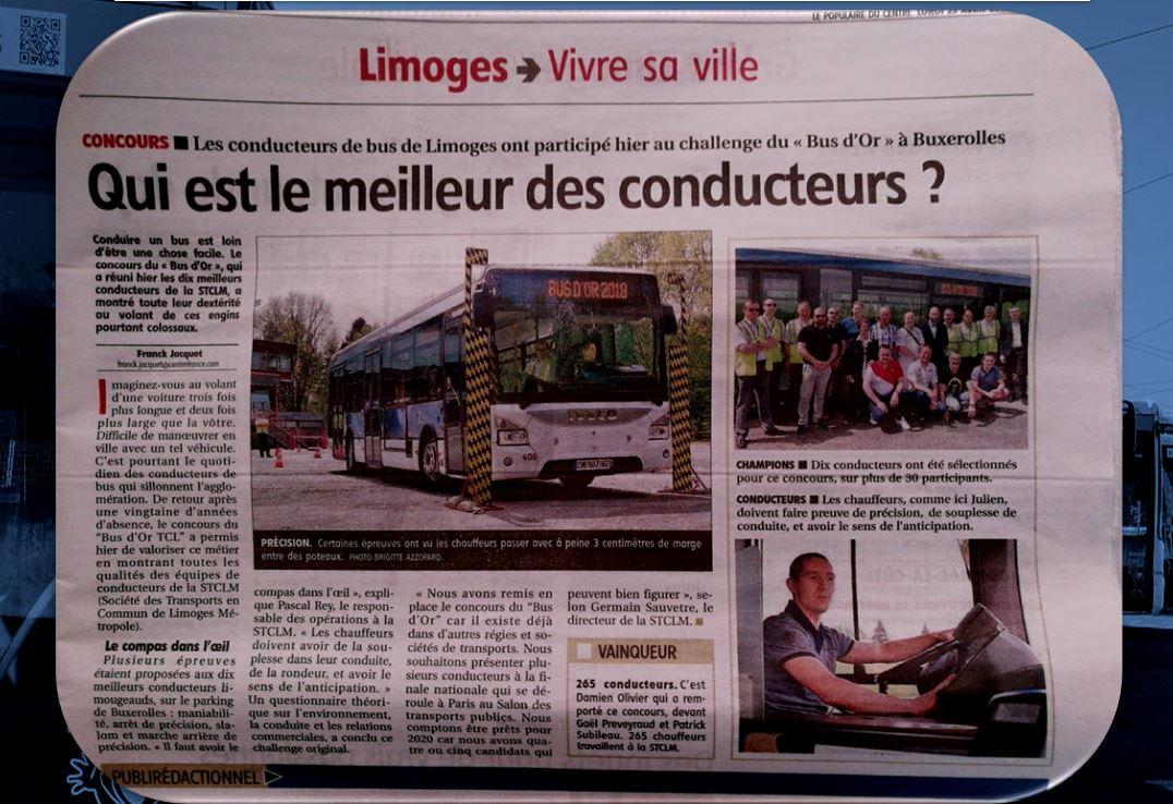 BUS D'OR DANS LA PRESSE «LE POPULAIRE»