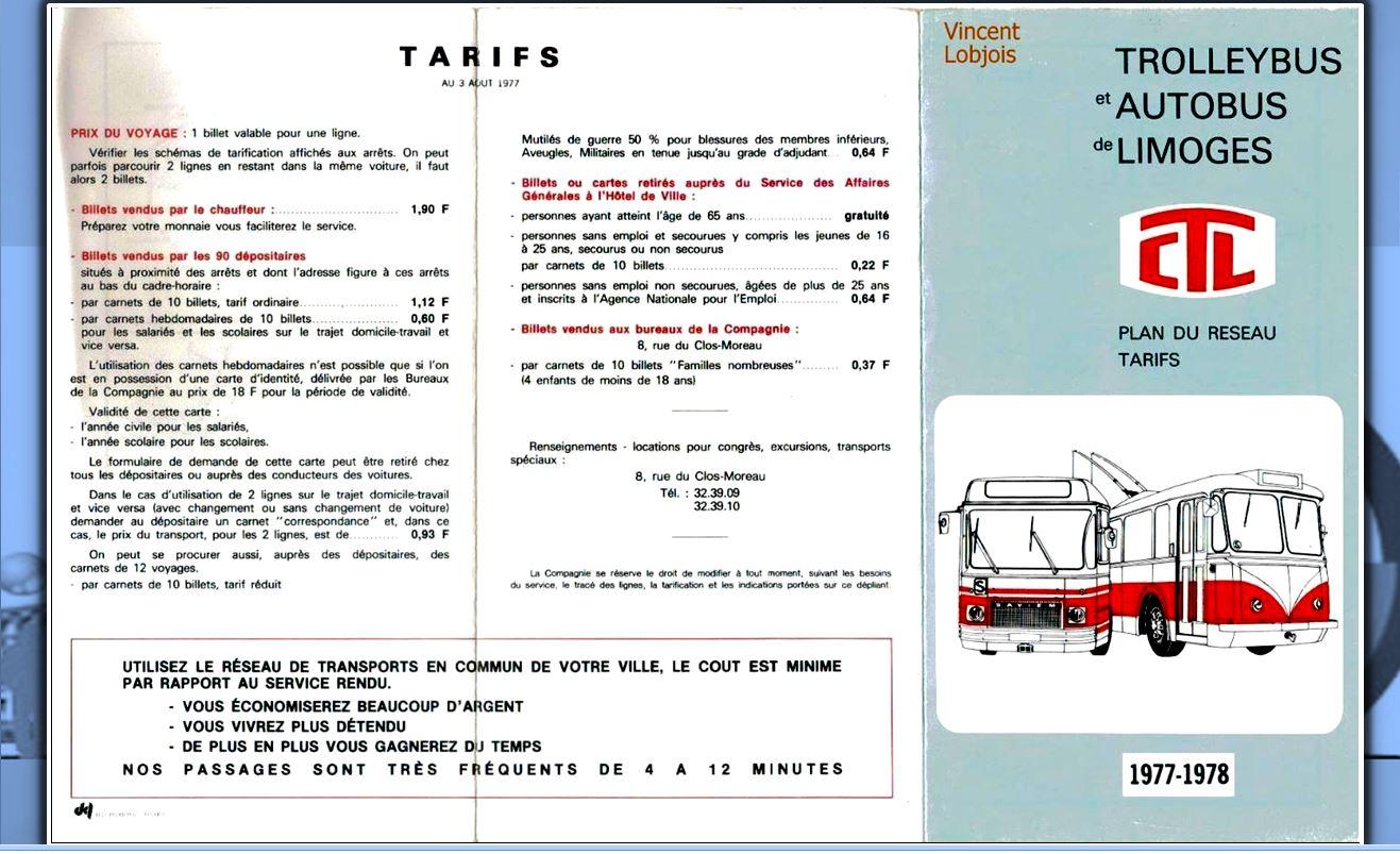 Tarif du titre de transport 1977-78